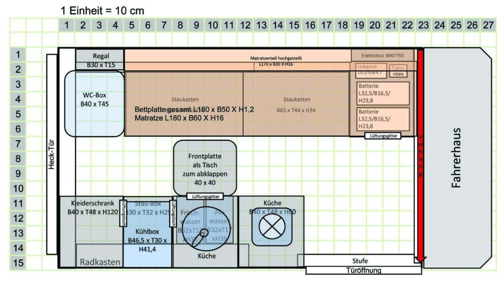 Grundriss der Möbelplanung für den Ausbau zum Wohnmobil