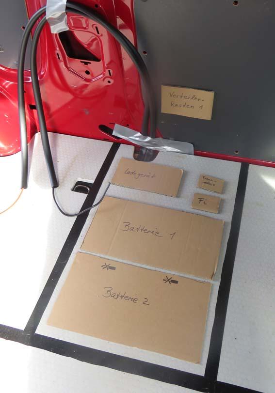 Plan für die Elektrobox auf dem Boden markiert