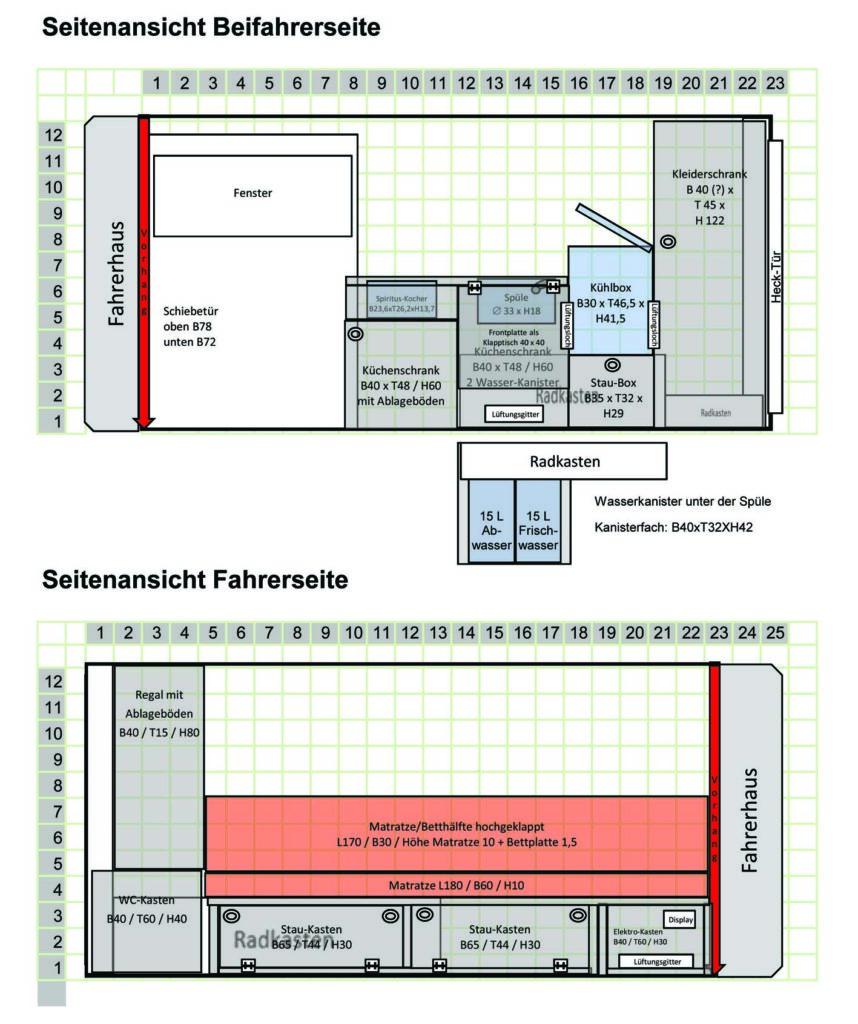 Seitenansicht der Möbelplanung für den Ausbau zum Wohnmobil