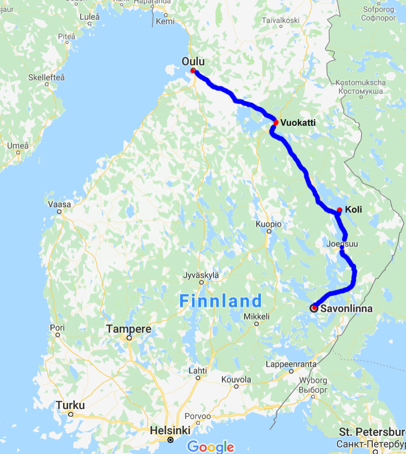 Karte Savonlinna - Koli - Oulu