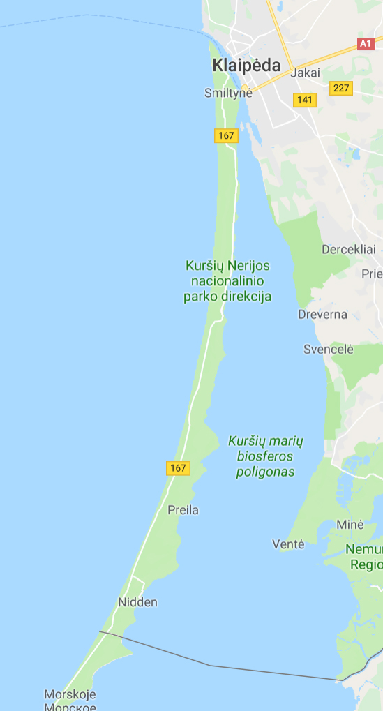 Karte Kurische Nehrung, Litauen