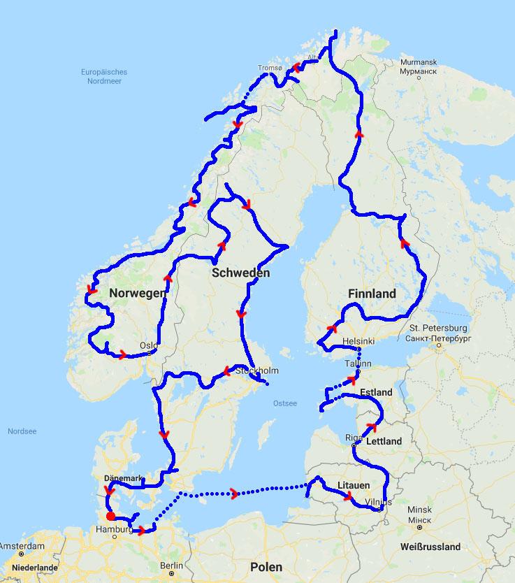 gesamte Route der Nord-Europa-Tour